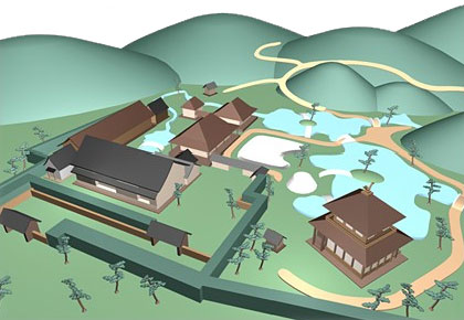 "This is an architecture design map or outline garden plan of Ginkakuji (Silver Pavilion) in Kyoto. It is called choukanzuhou, ""a bird's-eye view"" or fukanzuhou, ""view from abov"